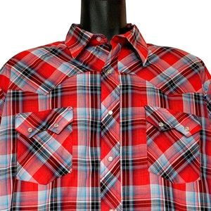 Wrangler Plaid Pearl Snap Western Fashion Shirt